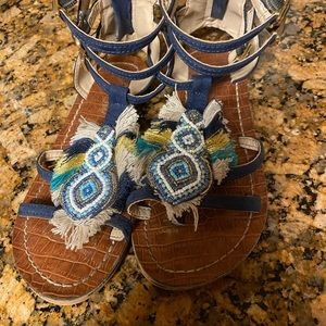 Gils Blue beaded sandals